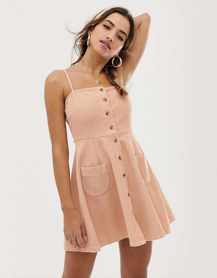 Asos DESIGN cord button through mini skater dress in blush pink