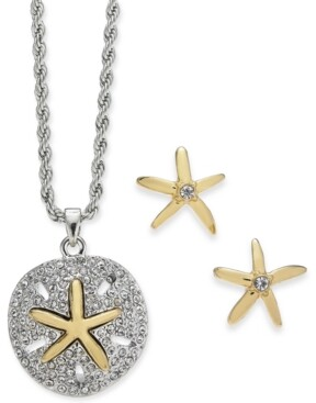 Charter Club Two-Tone Sand Dollar & Starfish Pendant Necklace & Stud Earring Set, Created for Macy's