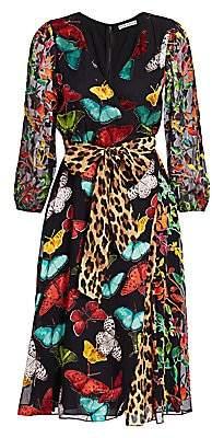 Alice + Olivia Women's Jesse Mixed Print Wrap Dress - Size 0