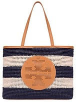 Tory Burch Perforated-Logo Straw Tote