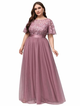 Ever Pretty Ever-Pretty Women's Short Sleeve Empire Wiast A Line Long Tulle Elegant Plus Size Wedding Guest Dresses Gold 22UK