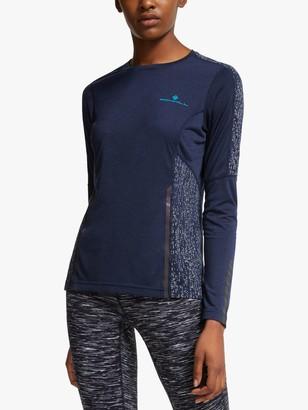 Ronhill Life Nightrunner Long Sleeve Running Top, Deep Navy/Reflect