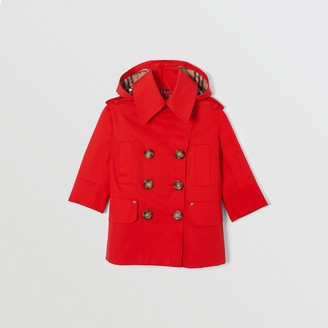 Burberry Childrens Cotton Twill Hooded Trench Coat