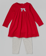 Magnificent Baby Deep Red Pleated Bow Magnetic Closure Dress & Leggings - Infant