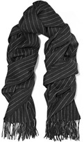 Rag & Bone Pinstriped Merino Wool Scarf - Black
