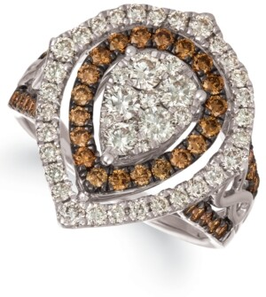 LeVian Le Vian Chocolate & Nude Diamond Cluster Halo Ring (1-9/10 ct. t.w.) in 14k Rose, Yellow or White Gold