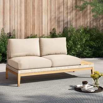 """Foundstoneâ""""¢ River Patio Loveseat with Cushions Foundstonea Cushion Color: Cast Oasis"""