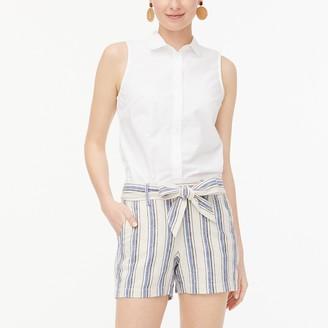 J.Crew Striped linen-cotton tie-front short