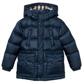 Burberry Ink Blue Hooded Puffer Coat