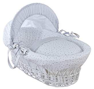 Clair De Lune Stars and Stripes White Wicker Moses Basket inc. bedding, mattress & adjustable hood (Pink)