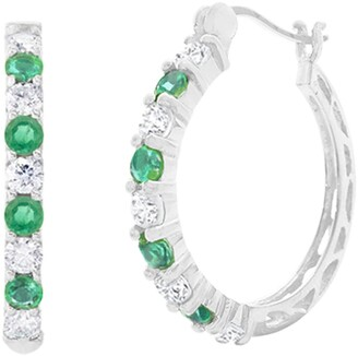 Savvy Cie Sterling Silver Emerald & White Topaz 16mm Hoop Earrings