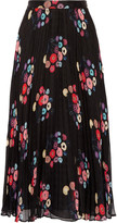 Tanya Taylor Pleated floral-print checked silk-mousseline maxi skirt