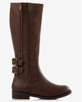 Express brown distressed riding boot