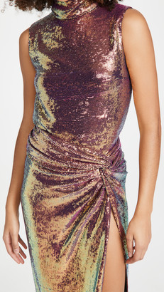 Sally LaPointe Iridescent Sequins Draped Neck Shift Tank