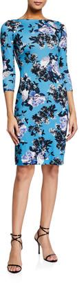 Erdem Reese Floral Print 3/4-Sleeve Dress, Blue