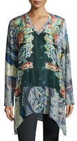 Johnny Was Bekka Silk V-Neck Printed Tunic, Blue