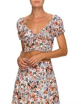 Lulu & Rose Cruz Floral Short Sleeve Crop Top