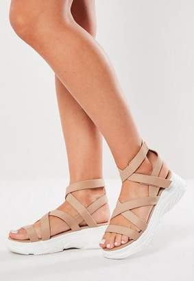 Missguided Nude Strappy Sports Sandals