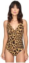 Lauren Ralph Lauren Leopard Shirred Underwire Mio One-Piece Women's Swimsuits One Piece