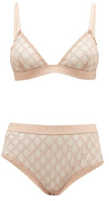 Gucci GG-jacquard Tulle Bra And High-rise Briefs - Light Pink