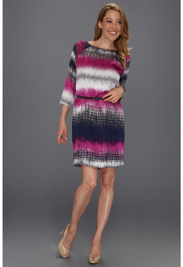 Kenneth Cole New York - Fusion Striped Shift Dress (Atomic Orchid Combo) - Apparel