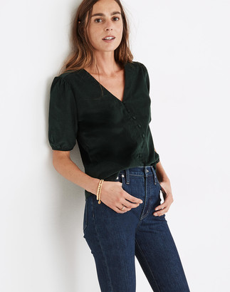 Madewell Corduroy Puff-Sleeve Button-Front Top