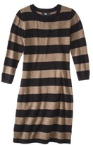 Mossimo Petites Long-Sleeve Sweater Dress - Brown/White
