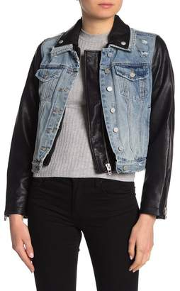 Blank NYC BLANKNYC Denim Denim & Faux Leather Moto Jean Jacket