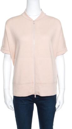 Brunello Cucinelli Blush Pink Cashmere Zip Front Box Sweater XL