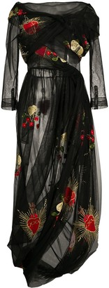 Simone Rocha Embroidered Tulle Overlay Dress