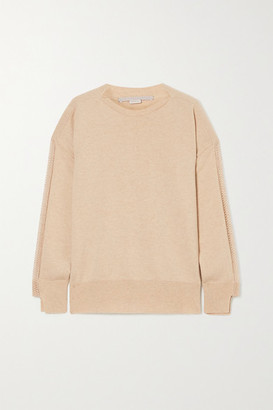 Stella McCartney + Net Sustain Crochet-trimmed Cashmere And Wool-blend Sweater - Beige