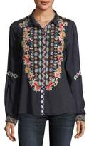 Johnny Was Clarissa Embroidered Button-Front Tunic