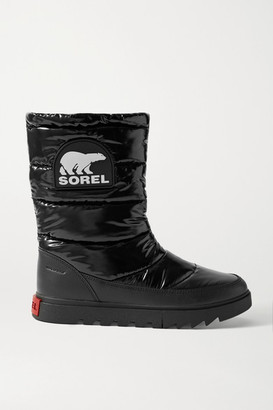 Sorel Joan Of Arctic Next Lite Waterproof Leather-trimmed Glossed-shell Boots - Black