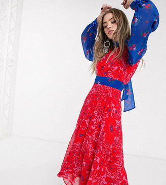 Twisted Wunder high neck midaxi dress in mixed print in blue and red