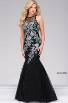 Jovani Mermaid Prom Dress with Multi Color Embroidery 41661
