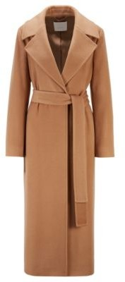 HUGO BOSS Relaxed Fit Coat In Recycled Cashmere With Wool - Light Brown