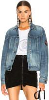 Saint Laurent Pleated Denim Jacket with Shoulder Patch
