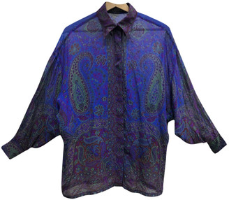 Gianni Versace Blue Silk Top for Women Vintage