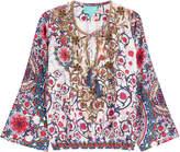 TAJ Embellished Printed Silk Top
