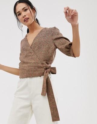Gestuz Ditte tie wrap check blouse