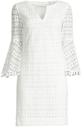 Trina Turk Bell Sleeve Mesh Sheath Dress