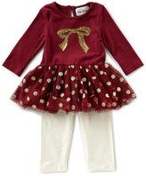 Rare Editions Baby Girls Newborn-24 Months Dotted Bow Top & Solid Leggings Set