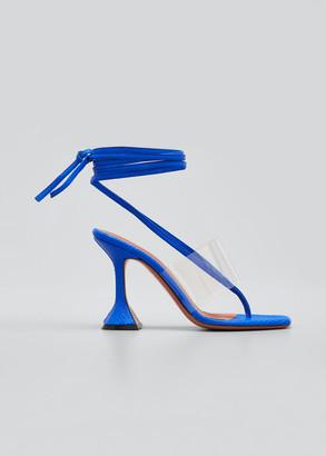 Amina Muaddi Zula Ankle-Wrap Thong Sandals
