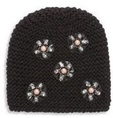 Jennifer Behr Mod Flower-Embroidered Wool Beanie