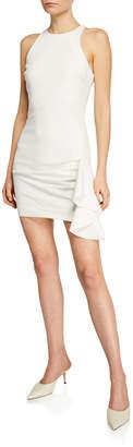Cinq à Sept Makayla Halter-Neck Side-Ruffle Mini Dress