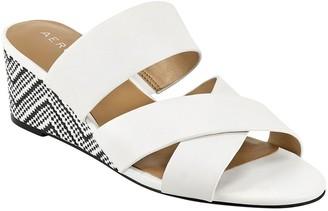 Aerosoles Slip-On Leather Mid-Wedge Sandals - Westfield