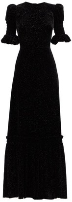 The Vampire's Wife Night Flight Glitter-velvet Maxi Dress - Black Gold