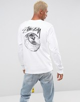 Stussy Long Sleeve T-shirt With Stock World Back Print In White