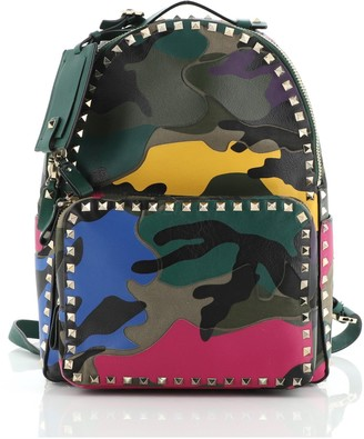 Valentino Rockstud Backpack Camo Leather and Canvas Medium