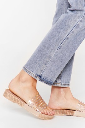 Nasty Gal Womens STUDDED DIAMANTE SLIDERS - Beige